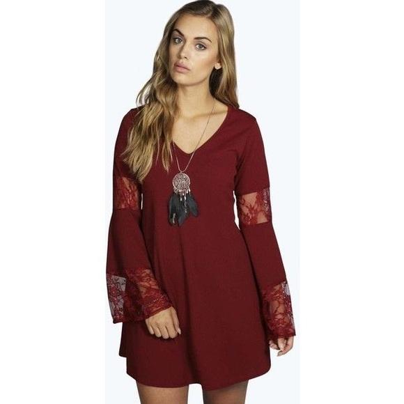 7d7ebb97b9 Boohoo Dresses   Skirts - Maroon and Lace Long Sleeve Bohemian Dress